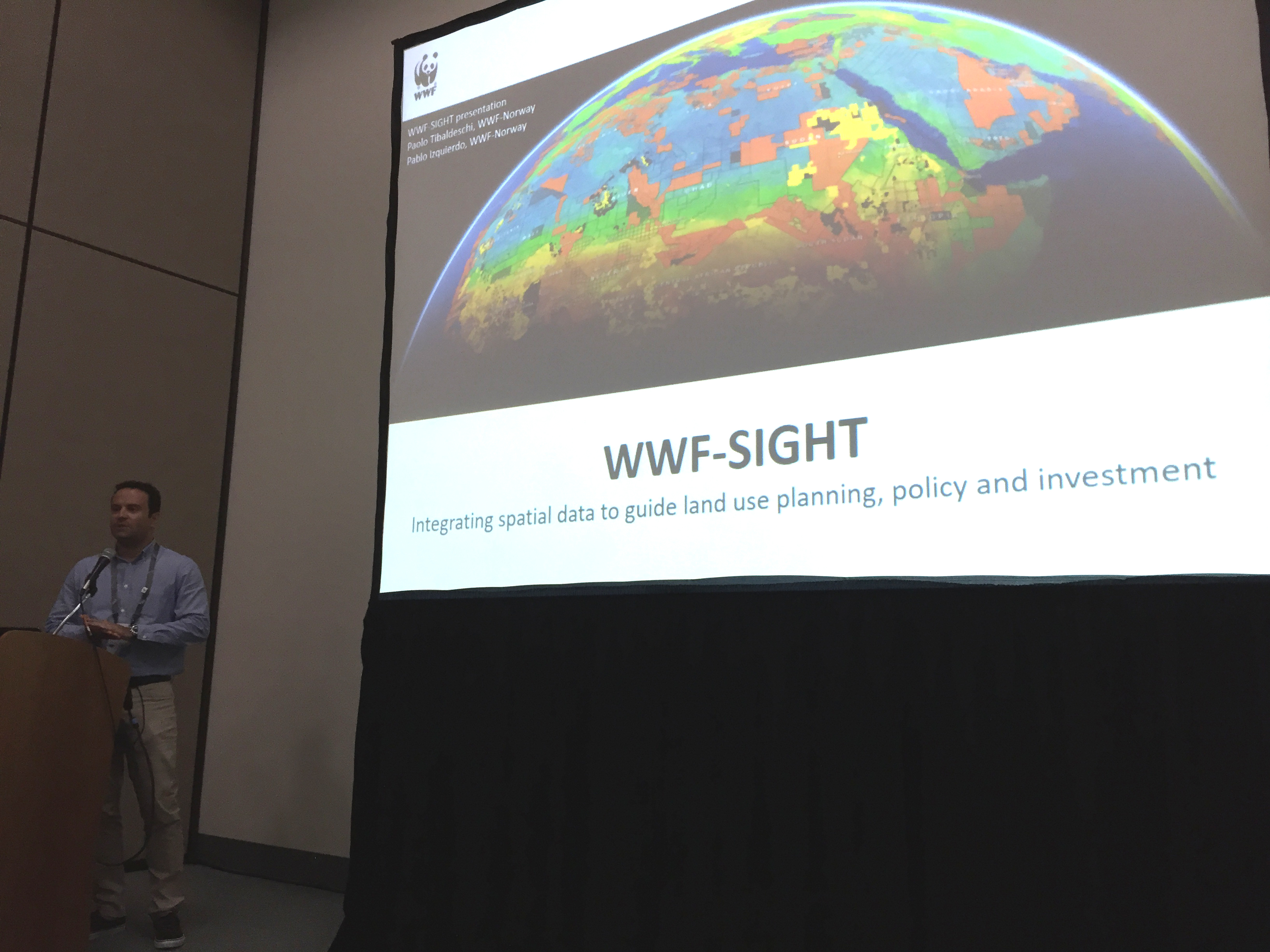 Paolo Tibaldeschi presenting WWF-SIGHT at one of the workshops at the ESRI UC 2017
